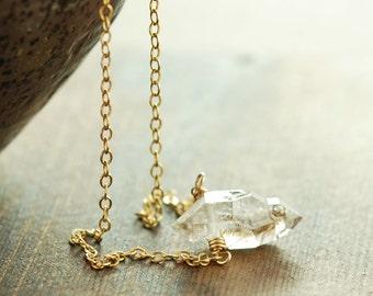 Herkimer Diamond Necklace April Birthstone, 14k Gold Fill Modern Minimal Jewelry