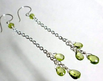 Peridot Earrings, Peridot Drop Earring, Peridot Cascade Earrings, Peridot Briolette Earrings
