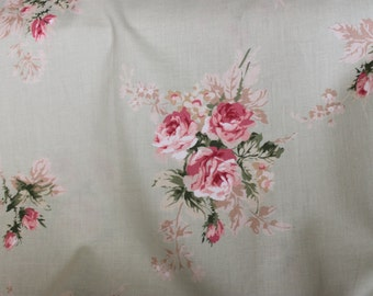 Yuwa Pink Roses on Sage YWP816856D Cotton Fabric
