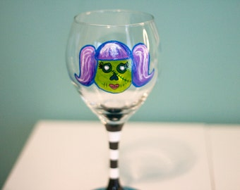 Pigtail Zombie Girl - Hand Painted Wine Glass