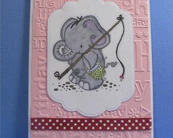 Elephant Fishing Greeting Card