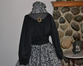 Civil War Colonial Prairie Pioneer Dress black and white print skirt black blouse-Womens 3 Piece