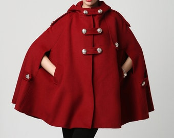 wine red wool cape, womens outerwear, military jacket, coat, swing coat,wool coat women, double breasted coat, custom made, cape jacket 1130