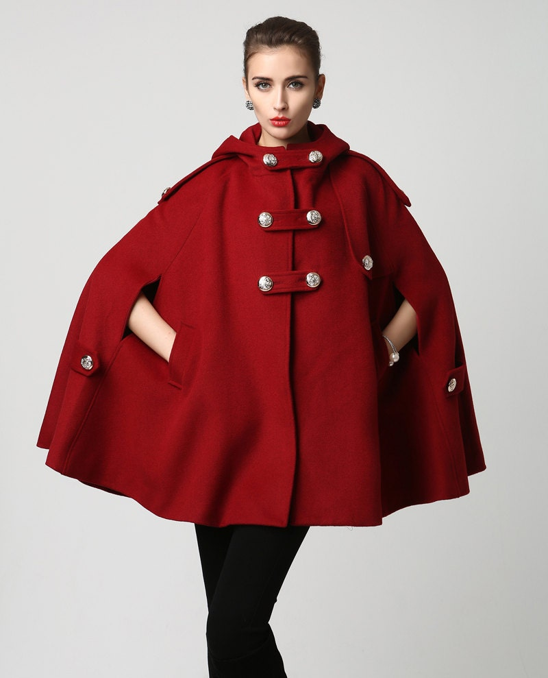 wine red wool cape womens outerwear military jacket coat