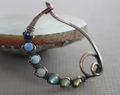 Arch scarf pin or shawl pin with ombre blue shades multicolored stones