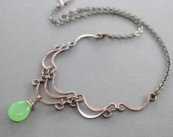 Layered scallop shape copper necklace with apple green chalcedony stone - Stone necklace