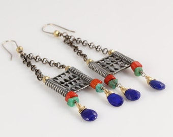 Antique Tribal Multicolored Chandelier Earrings- carved tiles, coral, amazonite, lapis, gold, and sterling