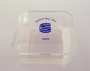 Acrylic United Way Trinket Box Clear Blue Advertising Jewelry Display