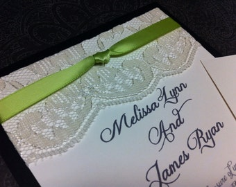 Lace wedding invitation set with pocket fold and real lace.