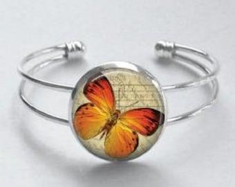 Orange Butterfly Cuff Bracelet - Orange and Beige bracelet - Butterfly art cuff bracelet - Adjustable Silver Bangle Cuff Bracelet