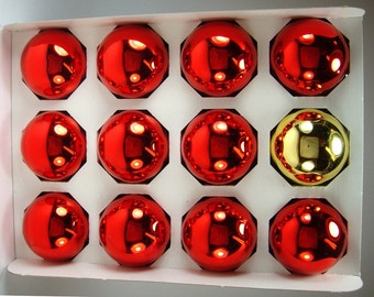 Red snd Gold Glass Christmas Balls, Set of 12, Xmas Ornaments by Holly, Rauch, Tree Trimmings, Festive Holiday Decor