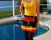 Black Skirt Red Orange Gold Ruffles Country Biker Skirt