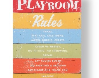 Playroom Rules Rustic wooden sign 18 x 26