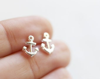 Tiny Anchor Stud Earrings Sterling Silver