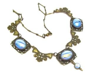 Art Nouveau Necklace, Vintage Necklace, Wedding Necklace, Bridal Jewelry, Vintage Bride, Blue Wedding, Art Nouveau Revival Necklace, Blue