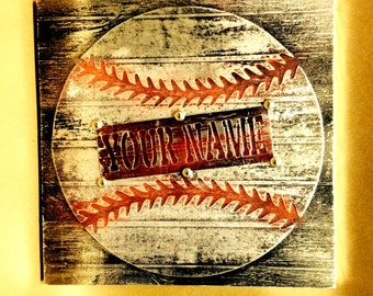 Buy one similar with Your Custom Name and or jersey number Baseball Original Foil Metal Tape Art Faux Steel Ready To Hang Mancave