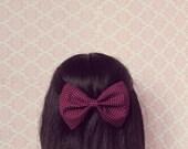 Plum Speckled Hair Bow - French Barrette, Polka Dot Hair Bow, Cute Big Hair Bow