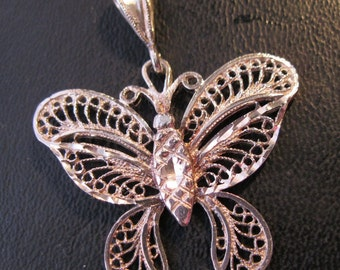 Butterfly Sterling Silver Filigree Pendant Vintage Jewelry Jewellery FREE SHIPPING