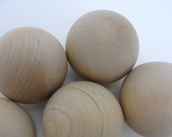 "Wooden ball 1.75"" (1 3/4"") solid wood, 1 3/4"" diameter ball set of 6"