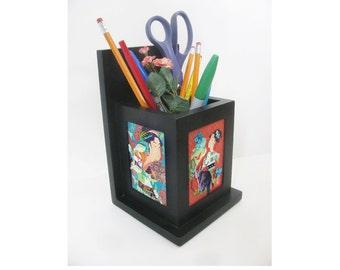 pencil holder art asian cat shabby chic women black wood home decor