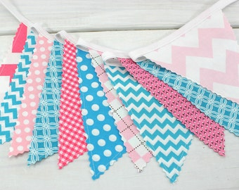 Bunting Banner, Fabric Banner, Girl Nursery Decor, Baby Shower, Home Decor - Pink, Teal Blue, Light Pink, Turquoise, Chevron, Geometric