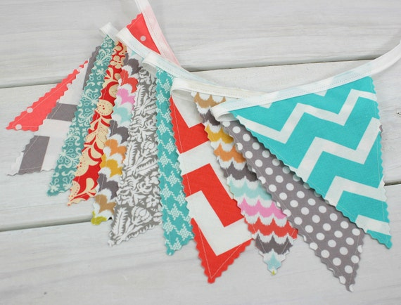 Bunting Banner Flags, Baby Girl Nursery Decor, Birthday Decoration, Garland, Pennant- Turquoise, Gray, Coral, Grey, Teal Blue, Chevron