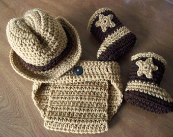 COWBOY 4 Piece Set baby Hat Boots Diaper Cover, warm brown and coffee, Newborn - 3 months crochet PHOTO PROP Custom boy girl