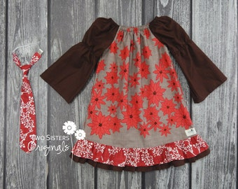 Brother and Sister Matching Outfits - Boutique Peasant Dress & Little Boy Necktie - Christmas Winter - Winter's Lane in Brown