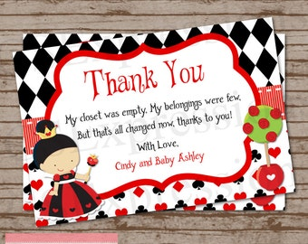Queen Of Hearts Baby Shower Thank You Card