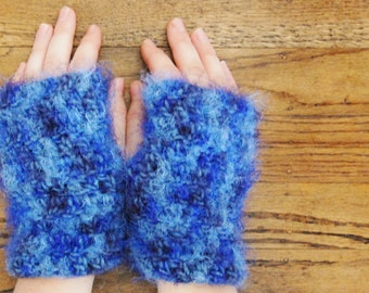 Blue monster wristlets - fur fingerless gloves