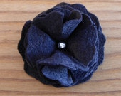 Three felt flowers pin, hair clip set. Black. FREE SHIPPING in the US