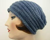 Hand knit Fine Merino slouch beanie, denim blue, unisex, FREE SHIPPING in the US.