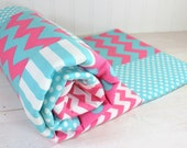 Baby Blanket, Nursery Decor, Girl Crib Blanket, Photography Prop, Patchwork Baby Blanket, Minky Blanket, Pink and Aqua Blue, Chevron, Dots