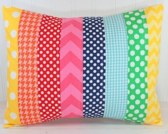 Rainbow Pillow Cover, Rainbow Nursery Decor, Patchwork Pillow,12 x 16 Inches, Playroom Decor, Rainbow, Chevron, Dots and Gingham, Pink, Aqua