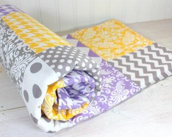 Baby Blanket, Minky Blanket, Girl Nursery Decor, Patchwork Blanket, Lavender, Purple, Plum, Yellow and Gray Chevron, Damask, Houndstooth