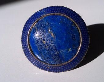 Lapis Lazuli Silver Enamel Punjab Multan Spiritual Tribal Ring