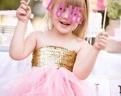 Flower Girl Tutu Dress - Gold Sequin with Pink, Ivory, Black, Navy, White - Many colors Available- The Golden girl