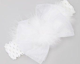 White Chiffon Ribbon and White Maribou Big Bow Headband fits infants, toddlers and girls.