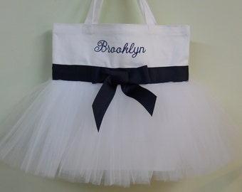 Bridal Tote Bag, Naptime 21, Embroidered Tote Bag-White tote Bag with Navy Blue ribbon Personalized Tutu Ballet Tote Bag - TB549 - A