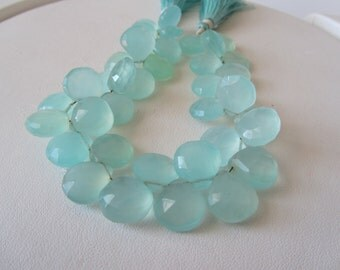 Caribbean Blue Chalcedony Faceted Heart Briolettes