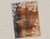 Barn Wood & Lace Wedding Shower Invitation
