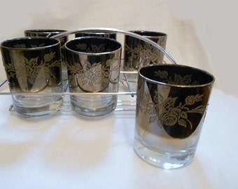 6 Vintage 60s Silver Fade Ombre Cocktail Glasses with Floral Bouquet Design in Carrier Mad Men Retro Modern Hollywood Regency