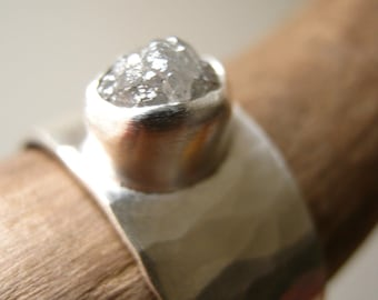 Rough diamond on Wide Hammered band - Engagement, Wedding, Anniversary Ring in Sterling Silver