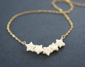 Mother of pearl, shell, star bar necklace, wedding, bridesmaid, gift, layered necklace, trendy