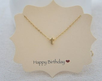 "Gold Letter, Alphabet, Initial  ""t"" necklace, birthday gift, lucky charm"