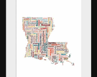 Louisiana Map Typography Map Poster Color Map Print