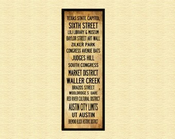 Austin Texas Bus Roll - Grunge -Subway Sign - Bus Scroll - Poster Print