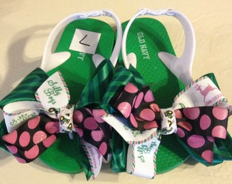 Little Girl's size 7 Flip Flops with Green Tractor Boutique Bows