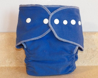 Fitted Large Cloth Diaper- 20 to 30 pounds-  Blue and White