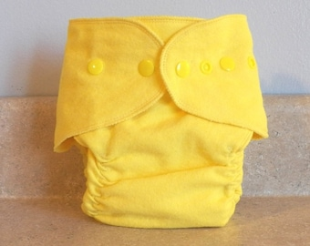 Fitted Large Cloth Diaper- 20 to 30 pounds-  Bright Yellow- 19006